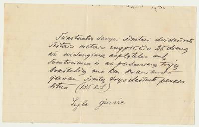 L. Gurvičiaus patvirtinimas apie kun. J. Kraniausko sumokėtus pinigus. 1926-08-25