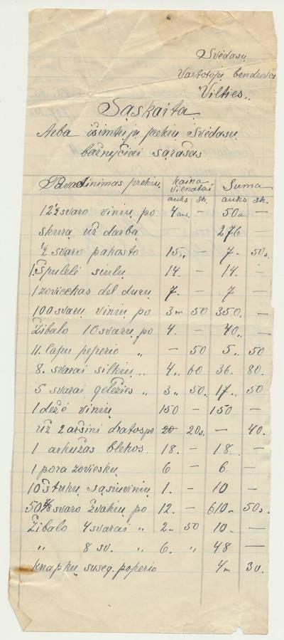 """Svėdasų vartotojų bendrovės """"Viltis"""" sąskaita už prekes. 1921-12-24"""