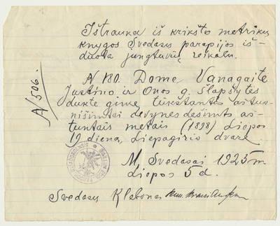 Išrašas iš Svėdasų parapijos krikšto metrikų knygos. 1925-07-05