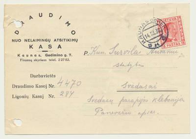 Draudimo nuo nelaimingų atsitikimų kasos pranešimas kun. A. Survilai apie draudimo mokesčius. 1938-03-11
