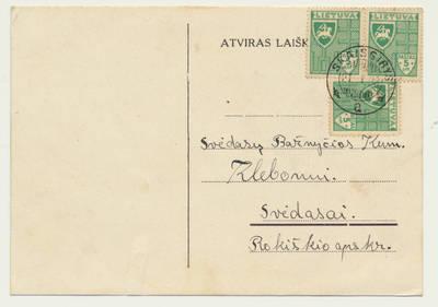 Skaistgirio bažnyčios klebono pranešimas apie U. Petronytės santuokos sakramentą. 1938-01-19