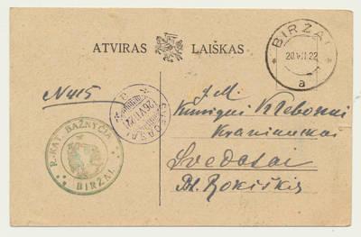 Biržų Romos katalikų bažnyčios pranešimas apie P. Laučytės ir J. Vištelio santuokos sakramentą. 1922-07-20