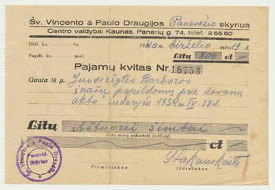 Šv. Vincento Pauliečio draugija. Šv. Vincento Pauliečio draugijos pajamų kvitas. 1940-06-19
