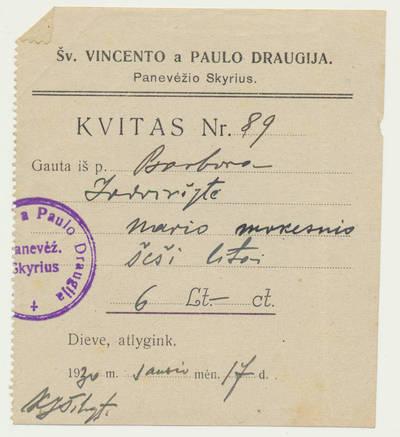 Šv. Vincento Pauliečio draugija. Šv. Vincento Pauliečio draugijos kvito apie sumokėtą nario mokestį šaknelė. 1930-01-17