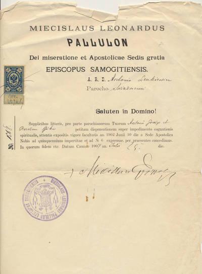Mečislovas Leonardas Paliulionis. Vyskupo Mečislovo Leonardo Paliulionio raštas Svėdasų parapijos kunigui Antanui Lenkevičiui. 1904-07-25