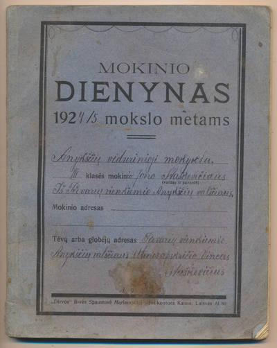 Jono Staškevičiaus mokinio dienynas. 1924