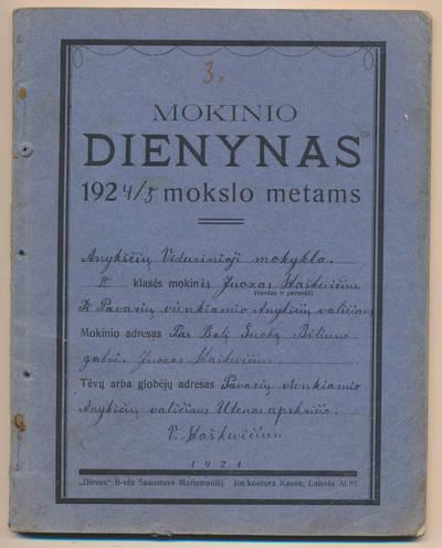 Juozo Staškevičiaus mokinio dienynas. 1924