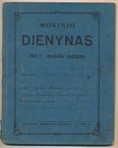 Jono Staškevičiaus mokinio dienynas. 1922