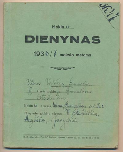 Bronislovo Staškevičiaus mokinio dienynas. 1936