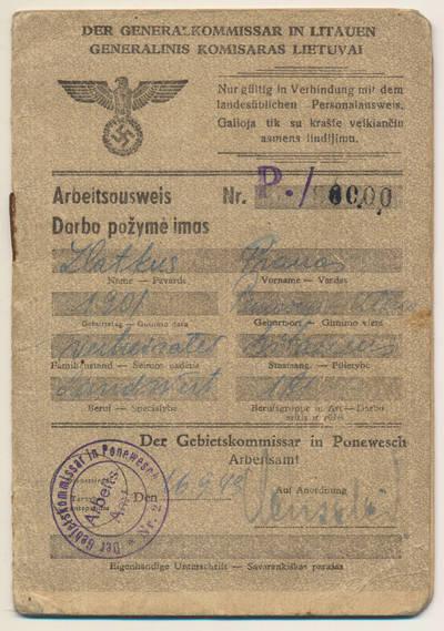 Darbo pažymėjimas. 1943-09-16