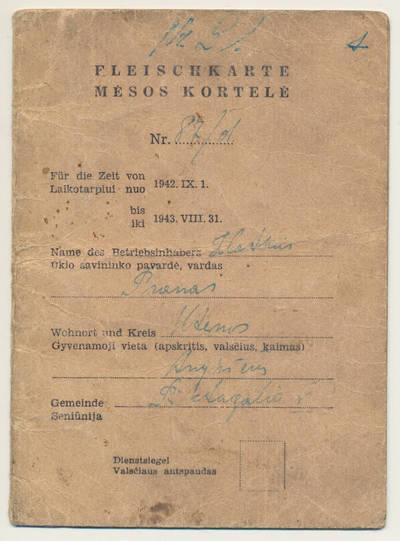 Prano Zlatkaus mėsos kortelė. 1943-01-15