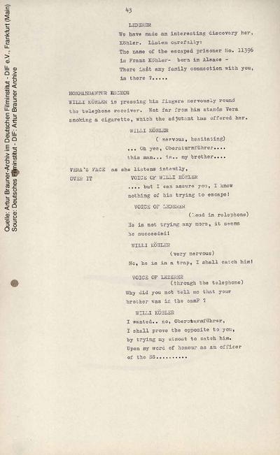Englisches Drehbuch (Fassung vom 22.11.1962, Auszug).
