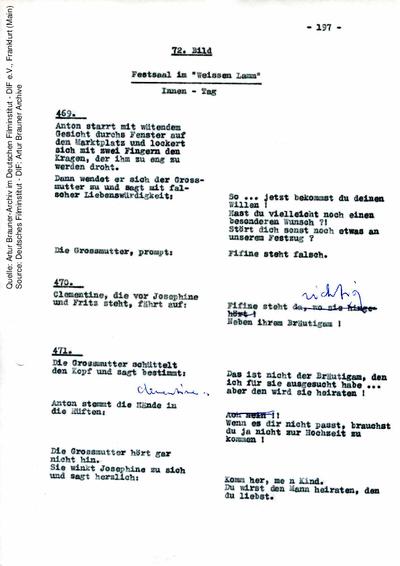 Drehbuch (Auszug), mit handschriftlichen Korrekturen von Artur Brauner.