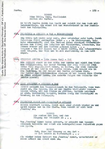 Drehbuch (Fassung vom 04.04.1958, Auszug).