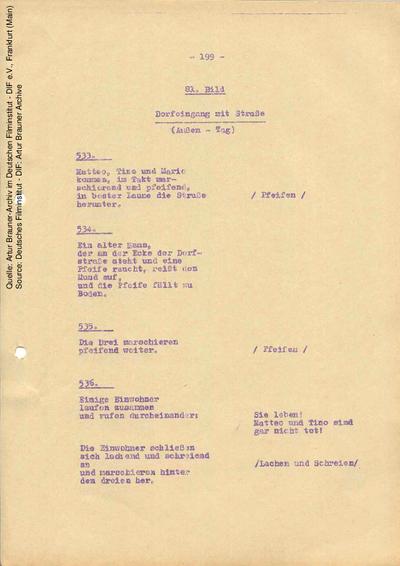 Drehbuch (Auszug).