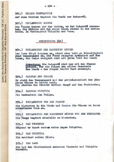 Drehbuch (Fassung vom 25.07.1954, Auszug).