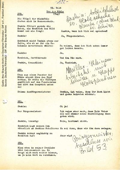 Drehbuch (Auszug), mit handschriftlichen Anmerkungen von Manon Hahn.