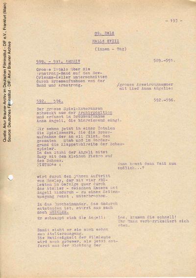 Drehbuch (Fassung vom 01.10.1961, Auszug).