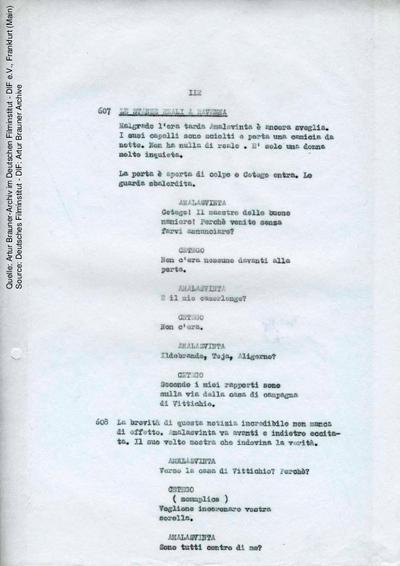 Englisches Drehbuch (Fassung von 02/1968, Auszug), mit handschriftlichen Korrekturen vom 12.08.1968.