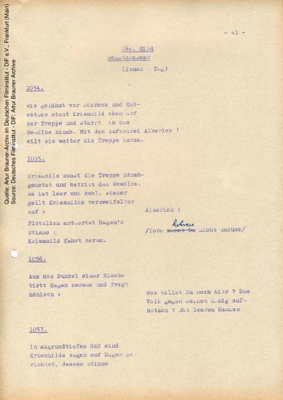Drehbuch (Auszug), mit handschriftlichen Korrekturen.