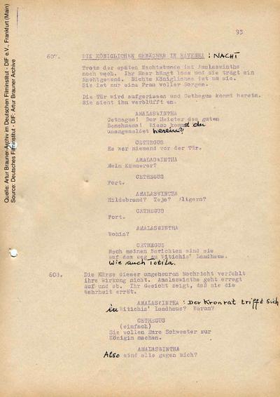 Drehbuch (Fassung vom 02.1968, Auszug), mit handschriftlichen Korrekturen 19.03.1968.