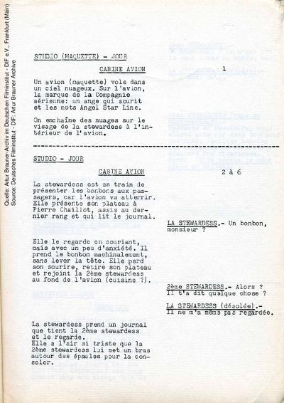 Französisches Drehbuch (Auszug).