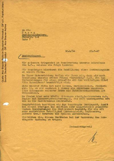 Brief von CCC an Gasag Berlin-Schöneberg, 29.07.1947.