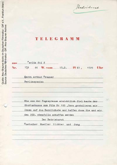Telegramm von CCC Betriebsrat an Artur Brauner, 13.02.1961.