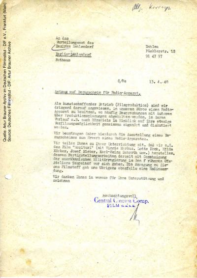 Brief von CCC an Verteilungsamt Berlin-Zehlendorf, 13.04.1948.