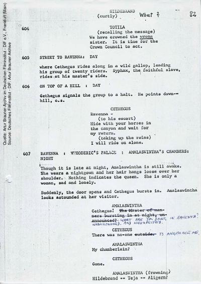 Englisches Drehbuch (Fassung vom 02.1968, Auszug), mit handschriftlichen Korrekturen 12.08.1968.