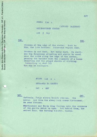 Englisches Drehbuch (6. Fassung vom 05.09.1964, Auszug).