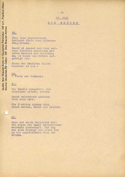 Drehbuch (Fassung vom 17.03.1964, Auszug).