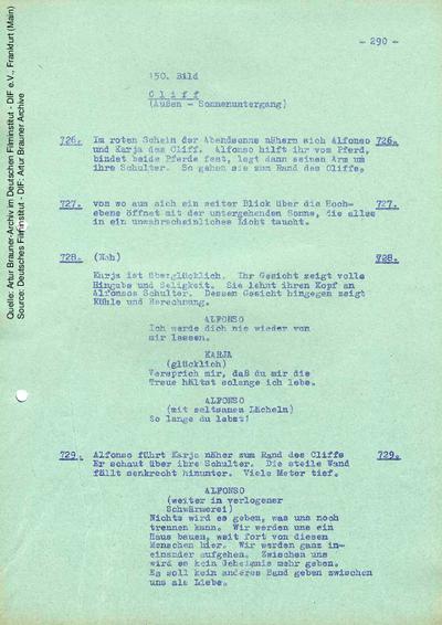 Drehbuch (6. Fassung vom 05.09.1964, Auszug).