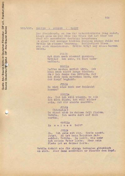 Drehbuch (Fassung vom 19.02.1968, Auszug).