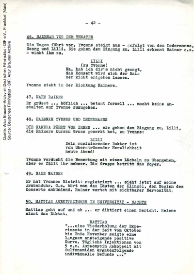 Drehbuch (2. Fassung vom 26.02.1955, Auszug).