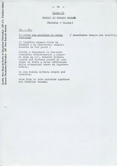 Italienisches Drehbuch (Auszug).