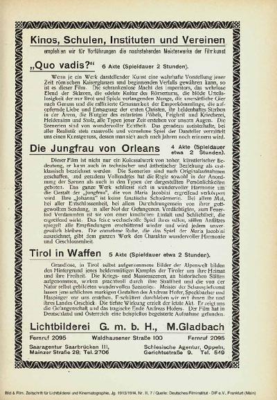 Filmempfehlungen der Lichtbilderei GmbH M.Gladbach.