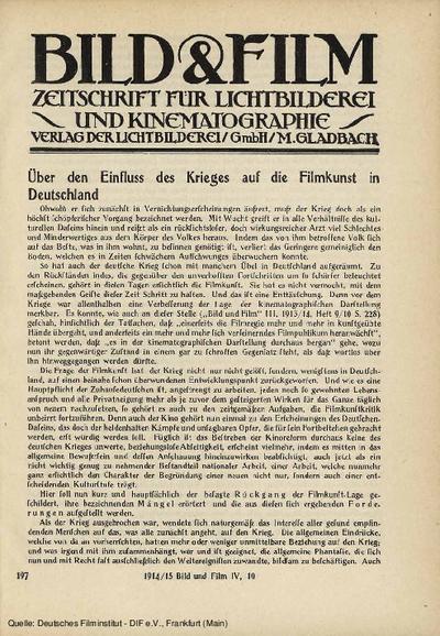 Über den Einfluss des Krieges auf die Filmkunst in Deutschland.