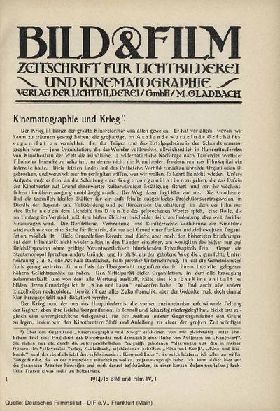 Kinematographie und Krieg.