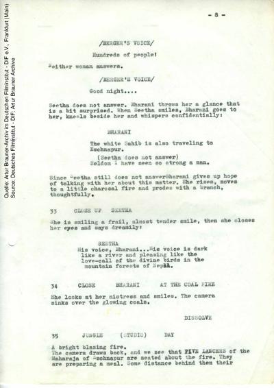 Englisches Drehbuch (Auszug).