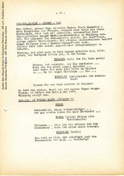 Drehbuch (endgültige Fassung vom 15.05.1956, Auszug).