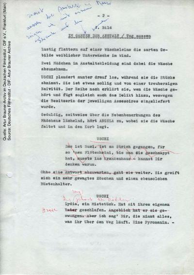 Drehbuch (2. Fassung, Auszug), mit handschriftlichen Korrekturen von Artur Brauner.