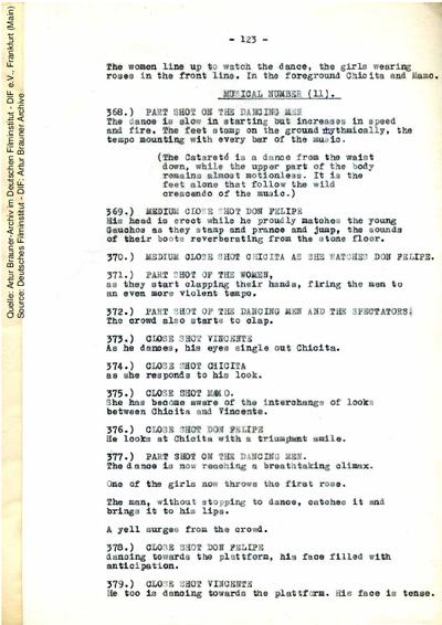 Englisches Drehbuch (Fassung vom 25.07.1954, Auszug).