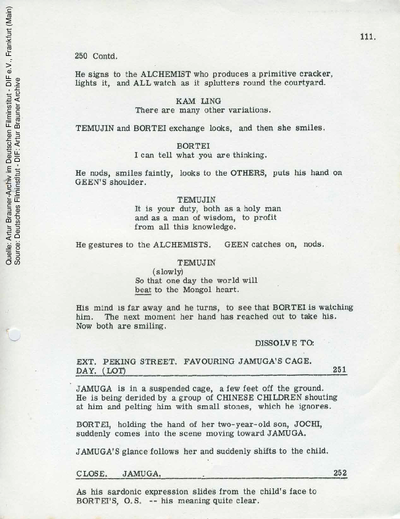 Englisches Drehbuch (letzte Fassung vom 17.06.1964, Auszug).