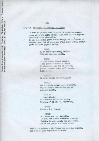 Italienisches Drehbuch (Fassung von 02/1968, Auszug).