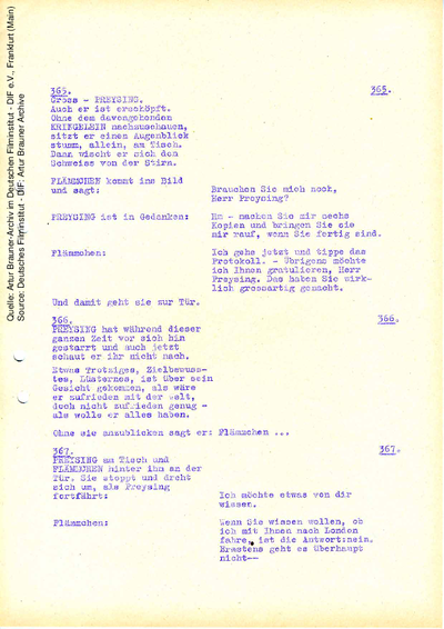 Drehbuch (Fassung vom 12.02.1959, Auszug).