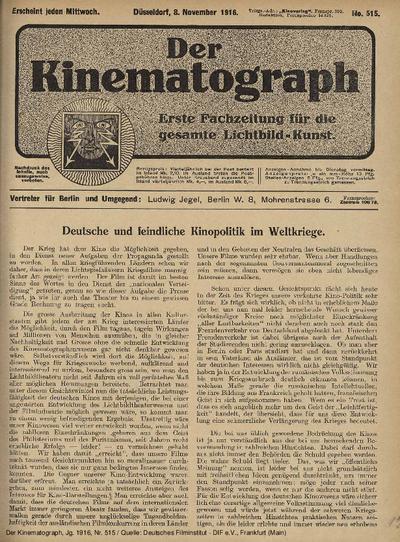 Deutsche und feindliche Kinopolitik im Weltkriege.