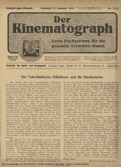 Der Vaterländische Hilfsdienst und die Kinobranche.