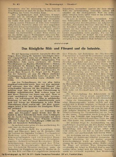 Das Königliche Bild-und Filmamt und die Industrie.