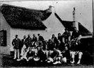 North Devon Cricket Club v Devon Dumplings 1912. Both teams in front of clubhouse.
